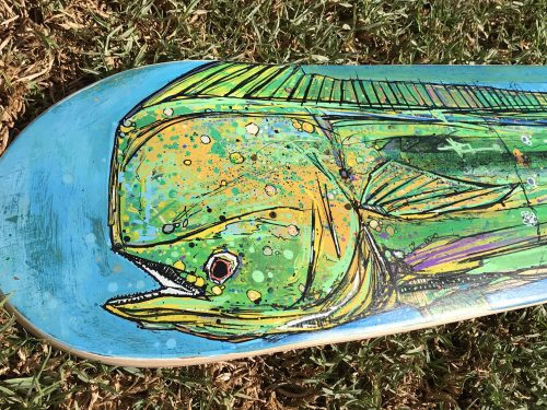 Mahi Skateboard, Hand Painted Skateboard, Dorado Art